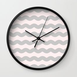 Winter 2018 Color: Gasp Gray on Millennial Pink Waves Wall Clock