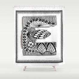 Zentangle E Monogram Alphabet Illustration Shower Curtain
