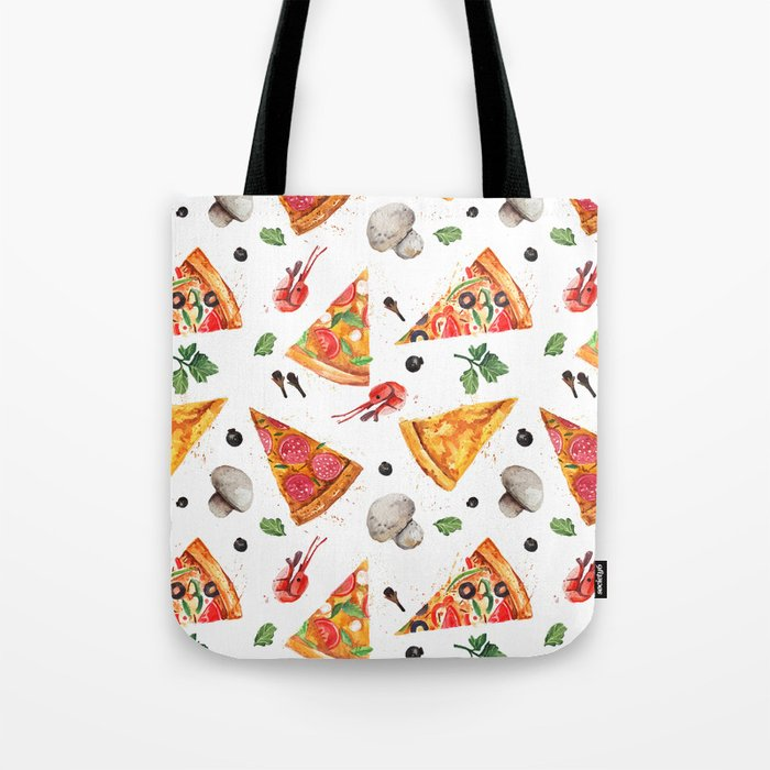 Pizza Pattern, Food Pattern, Watercolor Pizza Tote Bag