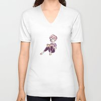 bookworm V-neck T-shirts featuring Bookworm by Ale Martin