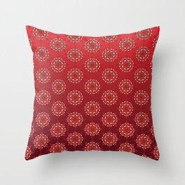 Red Star Mandala Pattern Throw Pillow