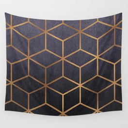 Dark Purple and Gold - Geometric Textured Gradient Cube Design Wall Tapestry