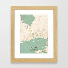 Galway, Ireland - Vintage Map Framed Art Print