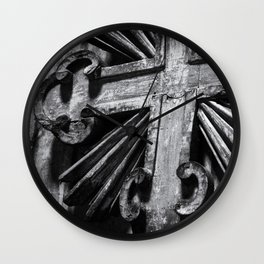 Wooden Cross in Rome, Italy | Black & White Photography | Street Photography | Travel Photography | Photo Print | Art Print Wall Clock