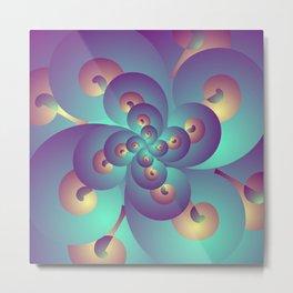 Acid Psychedelic Trance, Blue and Gold Fractal Metal Print