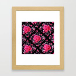 FUCHSIA PINK ROSE BLACK BROCADE GARDEN ART Framed Art Print
