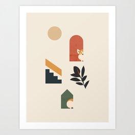 Hide and Seek Corgi Art Print