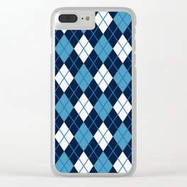 Blue White Argyle Clear iPhone Case