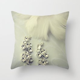 Diamnond / Crystal Earrings and feather flower Throw Pillow