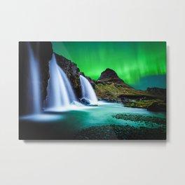 Aurora Borealis Waterfall Metal Print