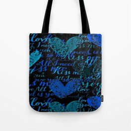 Kiss Me, Miss me Blue Tote Bag