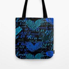 Kiss Me, Miss me Blue Tote Bag