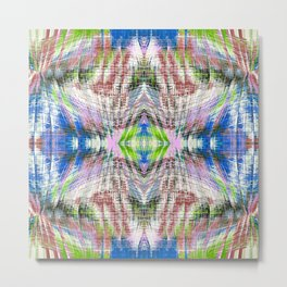 geometric symmetry pattern abstract background in pink blue green brown Metal Print
