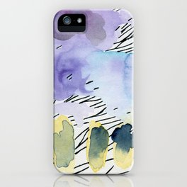 Purple match -watercolor wash and ink stripes iPhone Case