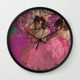 degas ballerinas pink Wall Clock