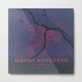 Nizhny Novgorod, Russia - Neon Metal Print