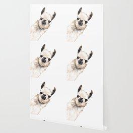 Sneaky Llama White Wallpaper