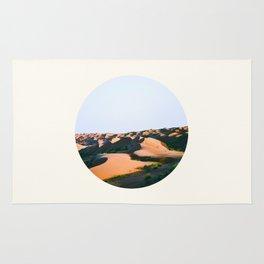 Mid Century Modern Round Circle Photo Desert Sands With Green Plants Shrub Rug