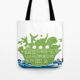 Noahs Ark - Bible - And Noah Did According to All that God had Commanded him Tote Bag