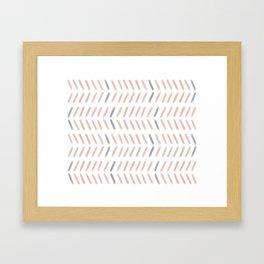 Chevron Pattern in Peach and Purple Framed Art Print