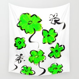 Green Flower Design Wall Tapestry