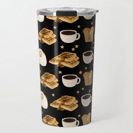 Breakfast Time Pattern on Black Travel Mug