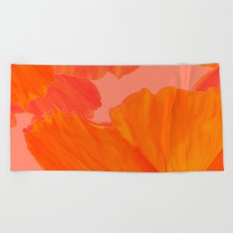 Beautiful Poppies Coral Color Background #decor #society6 #buyart Beach Towel