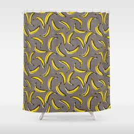 Pop Art Bananas - Gray Shower Curtain
