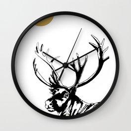 Art print: The reindeer named Caribou Wall Clock