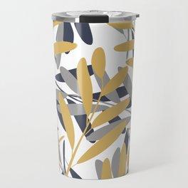Prints of Leaves, Navy, Gray and Mustard Yellow, Design Prints Travel Mug