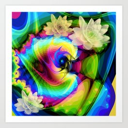 Floating Waterlilies in an Abstract Art Print