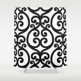 Black and White oversized filigri pattern Shower Curtain