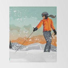 Skier Looking Throw Blanket