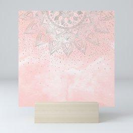 Luxury silver gray mandala confetti design Mini Art Print