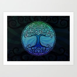 Tree of Life - Cool Blue Art Print