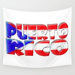 Puerto Rico Font with Puerto Rican Flag Wall Tapestry