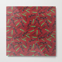 Green and Gray Leaves on Red Textured Background Metal Print