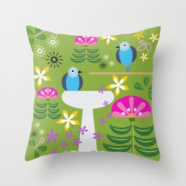 Bird Bath Throw Pillow