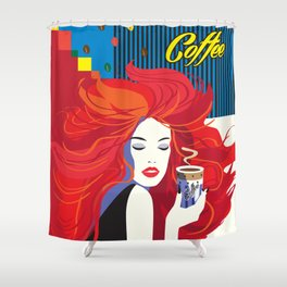 """Beautiful Fashion Woman and Coffee Cup"" POP-ART poster, Retro, Design Shower Curtain"