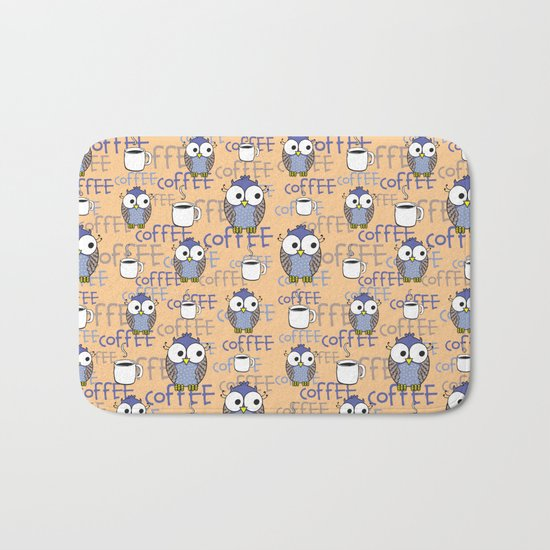 Owl orange pattern  Bath Mat