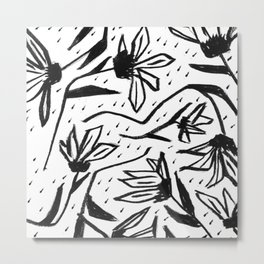 Black and White Echinacea Wildflower Drawing Metal Print