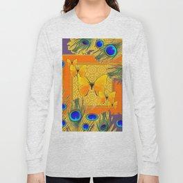 Golden Butterflies & Blue  Peacock Feathers On Puce Long Sleeve T-shirt