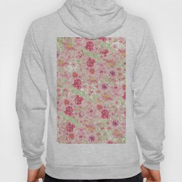 Pastel pink red watercolor hand painted floral Hoody