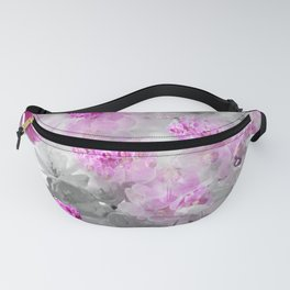 CHERRY BLOSSOMS ORCHIDS AND MAGNOLIA IMPRESSIONS IN PINK GRAY AND WHITE Fanny Pack