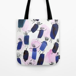 Free falling of the girls in the bright blue garments Tote Bag
