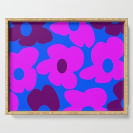 Large Pink and Purple Retro Flowers Blue Background #decor #society6 #buyart Serving Tray