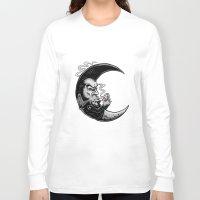 rockabilly Long Sleeve T-shirts featuring Rockabilly moon by Kabay