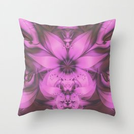 Pretty in Pink Fractal Flower Star-Shaped Petunias Throw Pillow