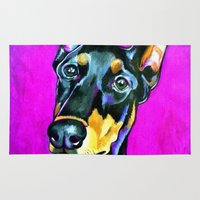 doberman Area & Throw Rugs featuring Jersey the Doberman by pawtraitz