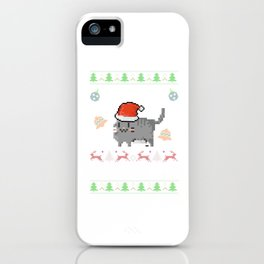 Meowy Christmas Ugly Christmas Sweater Gift iPhone Case